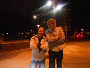 MIke and me in front of Asbury Park Paramount Theatre way after sun went down.