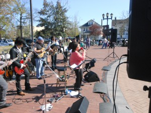 Rosemary Conte singing at concert for Tent City on Easter Sunday 2012 in Lakewood