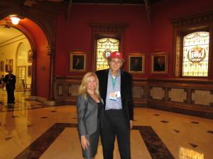 Tara-Jean Vitale & Calvin Schwartz, reporters for NJ Discover in State House Rotunda