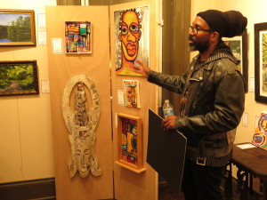 Kortez Robinson addressing audience at Freehold Art Gallery