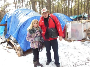 In Tent City, Lakewood, where up to 112 people lived for 10 years in tents, no heat, no electricity, no awareness of their plight. Pix with NJ Discover LIVE co-host Tara-Jean Vitale
