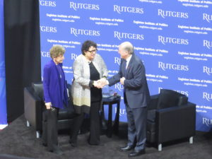 Eagleton Institute's Ruth Mandel. Justice Sotomayor, and Rutgers President Barchi