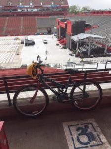 Two days before Commencement; the bike & hard hat