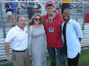 with Tony Novo, Sky Blue President, Mackenzie Malpass, Michael's grandaughter, Fatou Diallo, NJ Discover  broadcast intern, pre-match